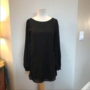 Lulu's Dresses - Lulu's black shift dress sheer sleeve mini dress